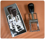 """SI 10-PL Justrite Self-inker for RIBtype with base. Approx 1/2"""" x 1/2"""" imprint area with 5 ribs."""